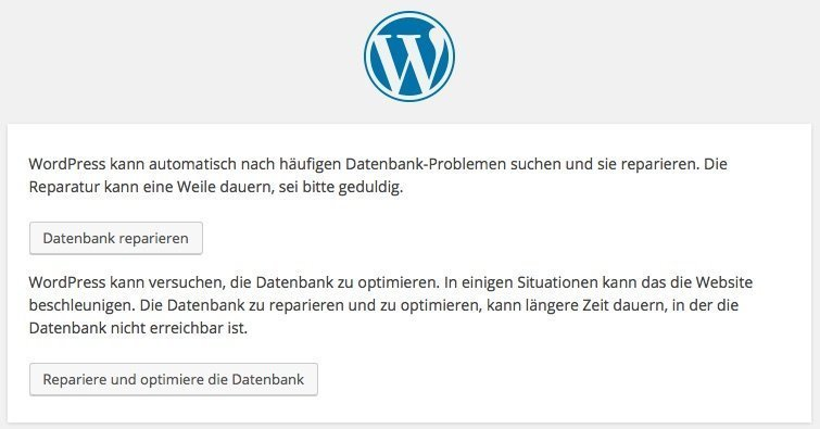 WordPress-Datenbank-Reparatur-Optimierung