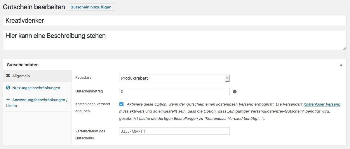 WooCommerce: Gutschein erstellen › Kreativdenker GmbH