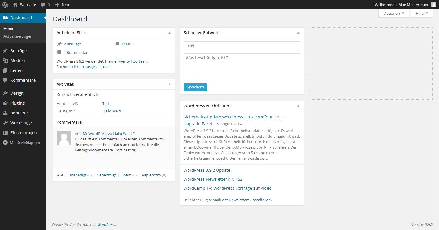 WordPress Admin Dashboard: Was ist das?